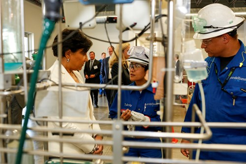 PENNY PRITZKER, former U.S. Secretary of Commerce, visits LyondellBassell's training center while in town for an UpSkill Houston meeting.
